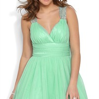 Short Prom Dress with Stone Trim Keyhole Back