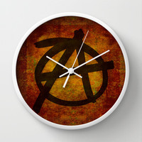 Distressed Anarchy Wall Clock by Bruce Stanfield