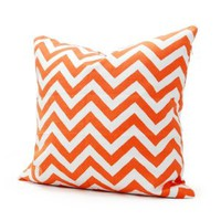 Lavievert 18 X 18 Inches Decorative Cotton Canvas Square Throw Pillow Cover Cushion Case Handmade White and Orange Chevron Stripe Toss Pillowcase with Invisible Zipper Closure (For Living Room, Sofa, Etc...)