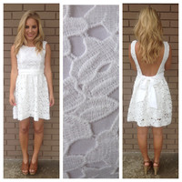 White Daisy Low Back Lace Dress