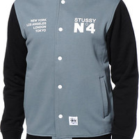 Stussy No. 4 Black & Grey Varsity Jacket
