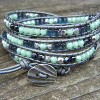 Beaded Leather Wrap Bracelet 4 or 5 Wrap with Mint Green Hematite and Smoky Blue Czech Glass Beads on Hematite Leather