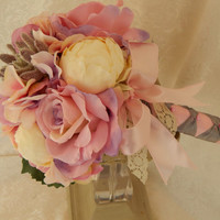 Blush Pink Garden Bouquet - Hydrangeas, Peonies, Succulents, Roses, Cream and Lavender, Light Purple, Blush Pink, Romantic Bouquet