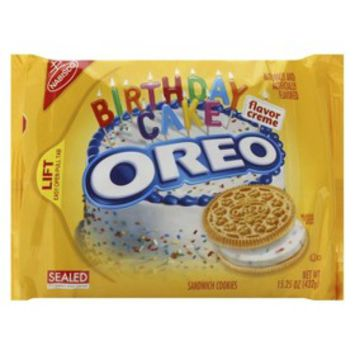 Nabisco Oreo Birthday Cake Golden Sandwich Cookies 15.25 oz