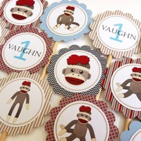 Sock Monkey Cupcake Toppers for Birthday or Baby Shower Party