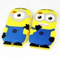 Despicable Me Minions Soft Silicone Case Defender Cover for Apple Iphone 4 4g 4s 5 5s with Retail Package (two Eyes for iphone 4 4s)