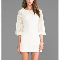 Cream Lace 3/4 Length Sleeve Dress