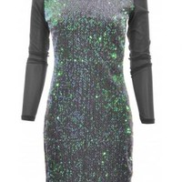 Silver Sequin Stretch Bodycon Dress in Charcoal