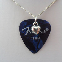 Fender Blue guitar pick necklace with heart charm