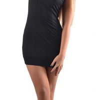 Black Cap Sleeve Cutout Mini Dress