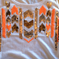 Bronze & Orange Sequin Tank - White