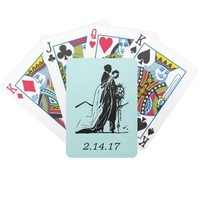 Bride Groom Soft Aqua Vintage Playing Cards