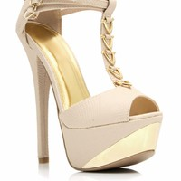 V-Down Metallic Accent Heels