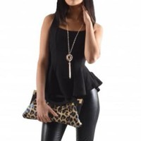 Black Sleeveless Ruffled Peplum Top