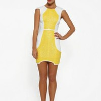 Pastel yellow and white cap sleeve sequin mini dress