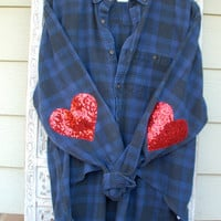 "Sequin Heart Elbow Patch Hi Lo Flannel - The Boyfriend ""Hipster Dazzle"" Flannel Shirt"