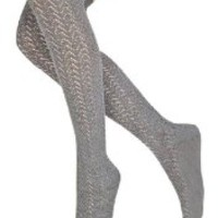 LADIES' GRAY Over Knee/Thigh High Knitted Cotton Ruffle Socks 3-6 days US Delivery