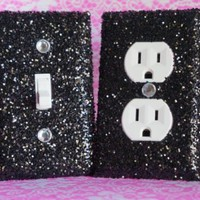 SET Chunky Black Glitter Switch Plate Outlet Covers ALL STYLES