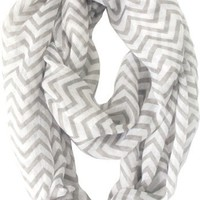 Vivian & Vincent Soft Light Weight Zig Zag Chevron Sheer Infinity Scarf (Gray/White)