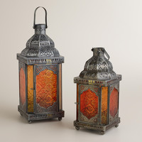 WARM SABITA EMBOSSED GLASS TABLETOP LANTERNS