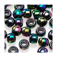 Black Aurora Borealis (iridescent) Pony Beads, 360 pcs