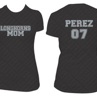 Custom Team Mom, Player Name & Number Sports T-Shirt - Silver Glitter