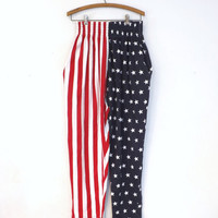 Vintage Red White Blue Aspen Athletic American Flag Leggings Pants Workout Aerobics Active wear Hip Hop Hipster Punk Sweatpants Mens Womens
