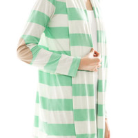 SPRING New Elbow Patch Cardigan Striped Sweater in Mint Green  S M L
