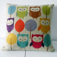 "Cotton Linen Square Throw Pillow Case Decorative Cushion Cover Pillowcase Cartoon Cute Owls and Trees 18 ""X18 """