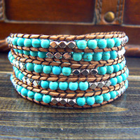 SHOP Sale --5 Wraps Turquoise Leather Wrap Bracelet 10410