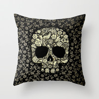 Sugar Skull flower pattern Throw Pillow case by Three Second
