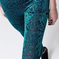 Aqua blue velvet silver dots lace sheer cut flower floral aztec slim fit leggings tights pants one size XS-M (LGN-022)