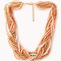 Braided Beads and Chain Necklace