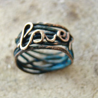 "Hammered copper ring ""Love"" - New Spring Fashion - Love - Blue patina - boho - eco friendly - handmade ring - wire wrapped ring"