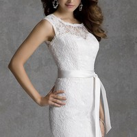 Short Cap Sleeve Lace Dress by Mori Lee