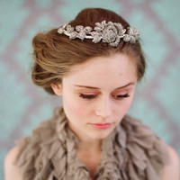 Rhinestone rose and leaf tiara - Style #112 | Headbands | Twigs & Honey?, LLC