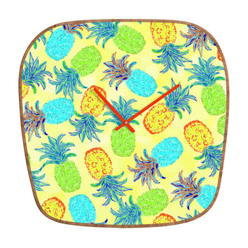 Lisa Argyropoulos Pineapple Pandemonium Yellow Modern Clock