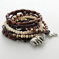 Mudd Silver Tone Elephant Charm & Wood Bead Stretch Bracelet Set