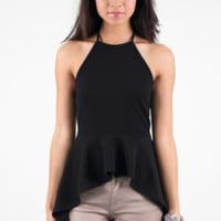 Black Halter Tank Top with Ruffle Peplum