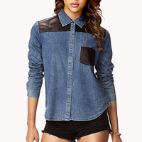Faux Leather Trimmed Denim Shirt