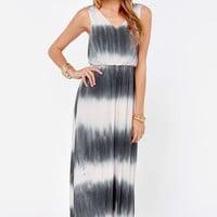 Tie Dying To Know Grey and Cream Maxi Dress