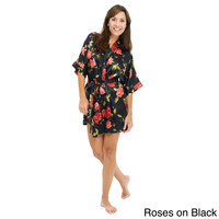 Del Rossa Women's Short Lightweight Satin Robe