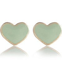 Light green enamel heart stud earrings - earrings - jewellery - women