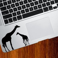 Giraffe Mom and Baby - Trackpad / Keyboard - Vinyl Decal