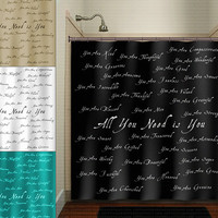 beautiful you positive word inspirational shower curtain bathroom decor fabric kids bath white black custom duvet cover rug mat window