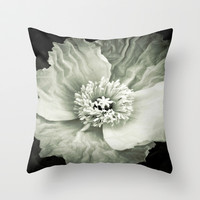 Black & White Poppy Throw Pillow by DuckyB (Brandi)