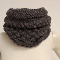 Taupe Chunky Cowl, Wool Circle Scarf, Brown Neck Warmer, Knit Infinity Scarf, Cable Knit Cowl, Taupe Snood, Brown Winter Scarf, Wool Snood