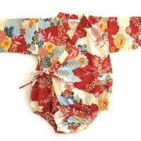 Sakura Red Baby Kimono | Nubie - Contemporary Nursery Furniture
