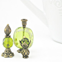 Vintage Style Olive Green Doll House miniature One Inch Scale 12th Perfume Bottle Ladies Vanity Set