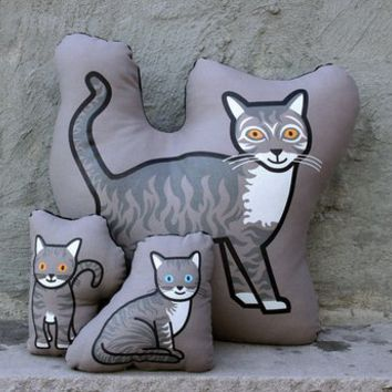 Tabby Cat Family Pillow by Pillow Pillow Pillow, Home Accents at ThePremiumPet.com